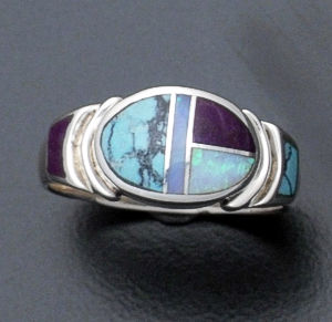 Supersmith Inc. - David Rosales Designs - Shalako Inlay & Sterling Silver Oval Ring #36110 Style R133 $190.00