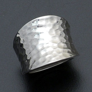 Zina - Concave Hammered Sterling Silver Ring #36567 Size 7 $240.00