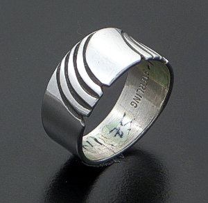 Steve Yellowhorse (Navajo) - Vintage Cut & Stamped Sterling Silver Ring #36816B Size 7 $75.00