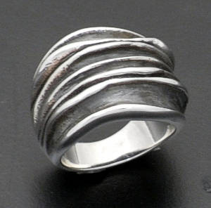 Zina - Oxidized Sterling Silver Waves Ring #37292 Size 7.5 $300.00