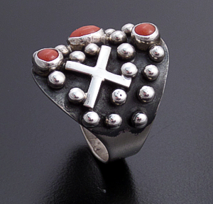 Ronnie Willie - Coral & Sterling Silver Beaded Four Corners Ring #37550 Size 8 $165.00