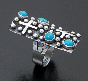 Ronnie Willie (Navajo) - Large Rectangular Blue Turquoise & Sterling Silver Beaded Four Corner Ring #37879 $210.00