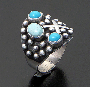 Ronnie Willie - Dry Creek Turquoise & Sleeping Beauty Turquoise Sterling Silver Four Corners Beaded Ring #37904 $165.00