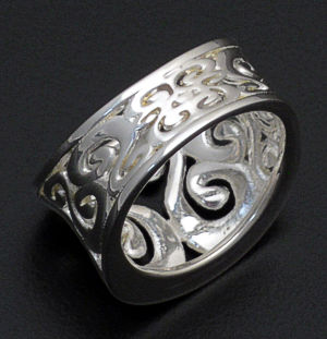 Zina - Concave Sterling Silver Seville Ring #37930 Size 7 $180.00