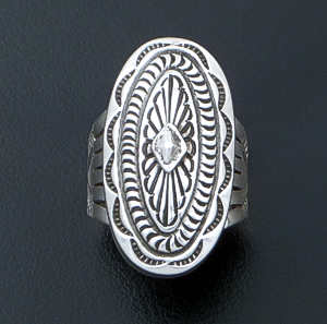 Tsosie Orville White (Navajo) - Stamped Raised Sterling Silver Oval Concho Ring #38058 $170.00