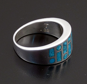 Supersmith Inc. - David Rosales Designs (Navajo) - Watermark Code Talker Turquoise & Sterling Silver Tapered Ring #38245 $300.00