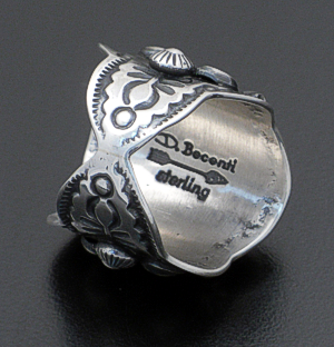 Darryl Becenti - Coral & Oxidized Sterling Silver Ring #39118 Size 7.75 $325.00