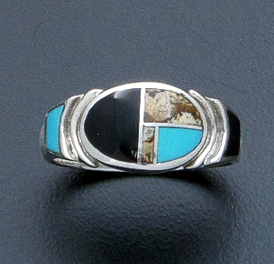 Supersmith Inc. - David Rosales Designs - Turquoise Creek Inlay & Sterling Silver Oval Ring #39416 Style R331 $170.00