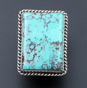 Albert Jake (Navajo)- Rectangular Pilot Mountain Turquoise & Sterling Silver Ring #39517 Adjustable Size $495.00