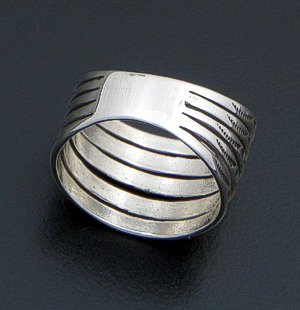Navajo - Stamped Sterling Silver Five Band Wrap Ring #39818 $75.00