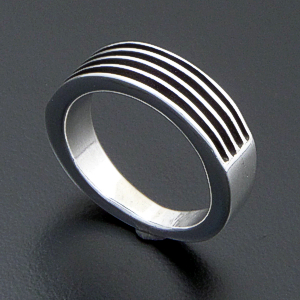 Frances Johnson (Navajo) - Narrow Grooved & Oxidized Sterling Silver Ring #39820 $135.00