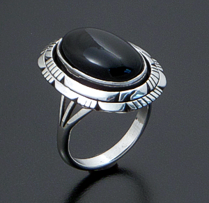 Andrew Vandever (Navajo) - Oval Black Onyx & Sterling Silver Double Bordered Ring #39915 $90.00