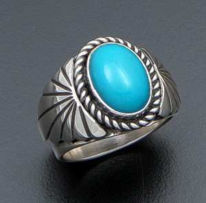 Delbert Vandever (Navajo) - Oval Sleeping Beauty Turquoise & Sterling Silver Tapered Fan Ring #39978 Size 10.5 $180.00