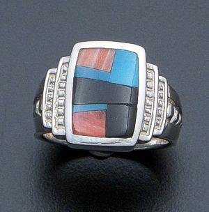Supersmith Inc. - David Rosales Designs - Rectangular Multistone Inlay & Sterling Silver Step Design Ring #40026 Style R914 $165.00