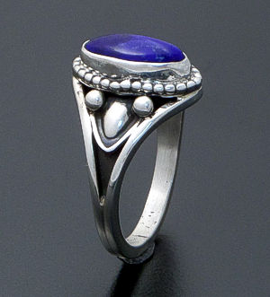 Derrick Gordon (Navajo) - Oval Lapis & Tapered Oxidized Sterling Silver Ring #40167 $120.00