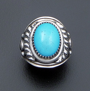 Derrick Gordon (Navajo) - Oval Sleeping Beauty Turquoise & Oxidized Sterling Silver Ring #40407 Size Size 10 $360.00