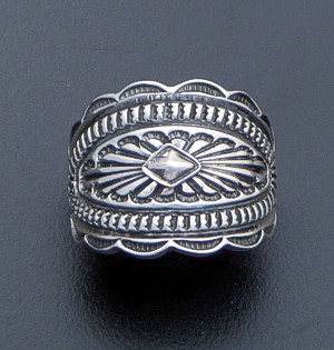 Tsosie Orville White (Navajo) - Stamped & Oxidized Sterling Silver Cigar Band Ring #40613 Size 7 $140.00