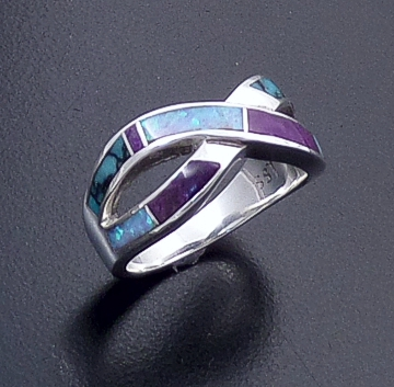 Supersmith Inc. - David Rosales Designs (Navajo) - Shalako Inlay & Sterling Silver Double Ribbon Ring #40783 Style R208 $165.00