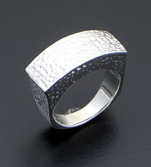 Hammered Tall Rectangular Sterling Silver Ring #40796 $40.00
