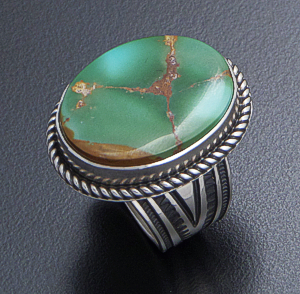 Albert Jake (Navajo) - Adjustable Oval Pilot Mountain Turquoise & Sterling Silver Ring #41134 Adjustable Size $330.00