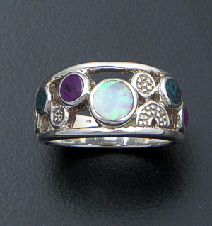 Supersmith Inc. - David Rosales Designs (Navajo) - Shalako Inlay & Sterling Silver Open Pebble Ring #41168 Style R445 $145.00