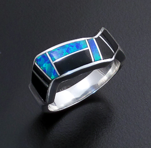 Supersmith Inc. - David Rosales Designs - Black Beauty Inlay & Sterling Silver Lightning Ring #41178 Style R206 $180.00