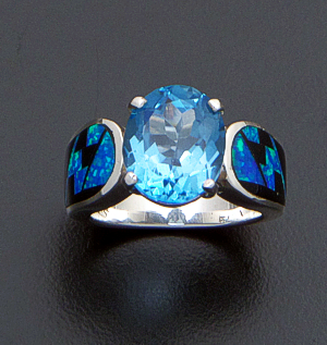 Supersmith Inc. - David Rosales Designs - Black Beauty Inlay & Oval Blue Topaz Sterling Silver Ring #41182 Style R038 $395.00