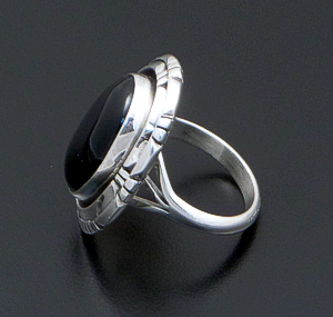 Andrew Vandever (Navajo) - Oval Black Onyx & Sterling Silver Double Bordered Ring #41372 $75.00