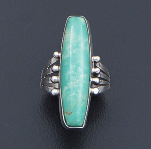 Navajo - Slender Green Turquoise & Sterling Silver Bead Accented Ring #41378 Size 6.5 $60.00