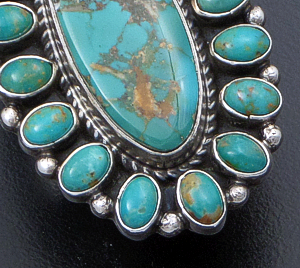 Geneva Apachito (Navajo) - Oval Royston Turquoise & Sterling Silver Cluster Ring #41580 Size 9 $390.00