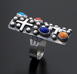 Ronnie Willie (Navajo) - Large Rectangular Multistone & Sterling Silver Beaded Four Corners Ring #41880 $195.00