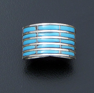 Andrew Enrico (Zuni) - Narrow Turquoise & Sterling Silver Channel Inlay Five Row Ring #41913A $95.00