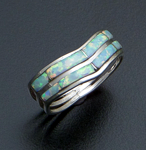 Andrew Enrico (Zuni) - Double Band Opal & Sterling Silver Channel Inlay Ring #41915 $50.00
