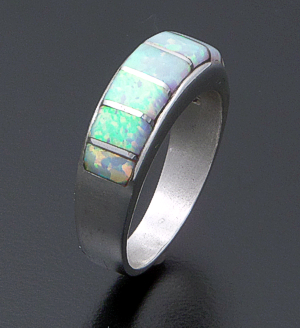 Rita Ybarra (Navajo) - Raised Opal & Sterling Silver Channel Inlay Ring #41917 Size 6.5 $95.00