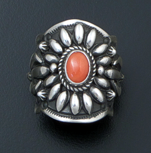 Darryl Becenti (Navajo) - Ornate Red Coral & Sterling Silver Scalloped Edge Ring #42086 Size 8.25 $295.00
