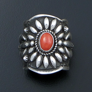 Darryl Becenti (Navajo) - Ornate Red Coral & Sterling Silver Scalloped Edge Ring #42088 Size 8 $295.00