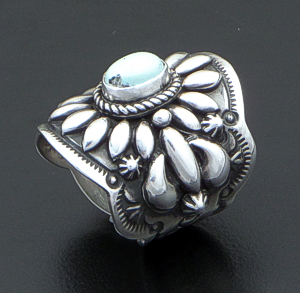 Darryl Becenti (Navajo) - Ornate Dry Creek Turquoise & Sterling Silver Scalloped Edge Ring #42089 Size 7 $295.00