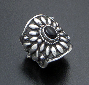 Darryl Becenti (Navajo) - Ornate Black Onyx & Sterling Silver Scalloped Edge Ring #42093 Size 7.5 $295.00