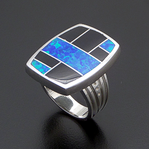 Supersmith Inc. - David Rosales Designs (Navajo) - Black Beauty Inlay & Sterling Silver Large Rectangular Ring #42363 Style R325 $210.00