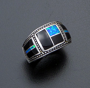Supersmith Inc. - David Rosales Designs (Navajo) - Black Beauty Inlay & Sterling Silver Beaded Three Section Ring #42366 Style R686 $190.00