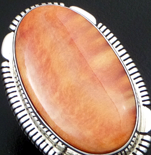 Thomas Francisco (Navajo) - Oval Orange Spiny Oyster Shell & Sterling Silver Cut & File Ring #42688 Size 7 $190.00