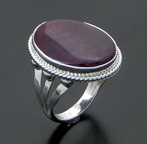 Navajo - Oval Purple Spiny Oyster Shell & Sterling Silver Ring #42689 Size 7 $80.00