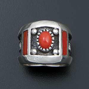 Navajo - Wide Coral Accented Tapered Sterling Silver Ladder Ring #42887 Item 17 Size 10 $420.00