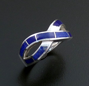 Supersmith Inc. - David Rosales Designs (Navajo) - Blue Water Inlay & Sterling Silver Crossed Ribbon Ring #43194 R208 $175.00