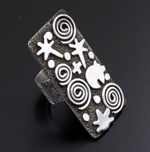 Alex Sanchez (Navajo) - Large Sterling Silver Rectangular Petroglyph Style Ring #43424 Item 15 Size 8 $210.00