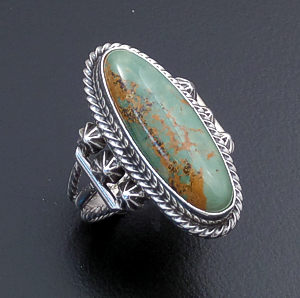 Navajo - Oval Green Turquoise & Sterling Silver Ring #43555 Size 5.5 $70.00