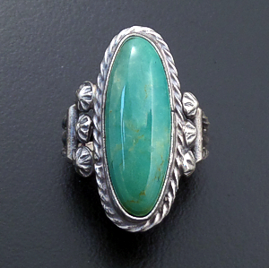 Navajo - Oval Green Turquoise & Satin Finished Sterling Silver Ring #43555 Size 6 $70.00