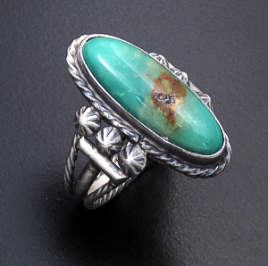 Navajo - Oval Green Turquoise & Satin Finished Sterling Silver Ring #43555 Size 8 $70.00