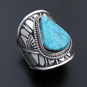 Derrick Gordon (Navajo) - Teardrop Turquoise & Sterling Silver Stamped Cigar Band Ring #43823 Size 7.5 $270.00