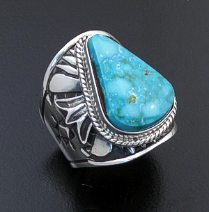 Derrick Gordon (Navajo) - Teardrop Turquoise & Sterling Silver Stamped Cigar Band Ring #43823 Size 8 270.00